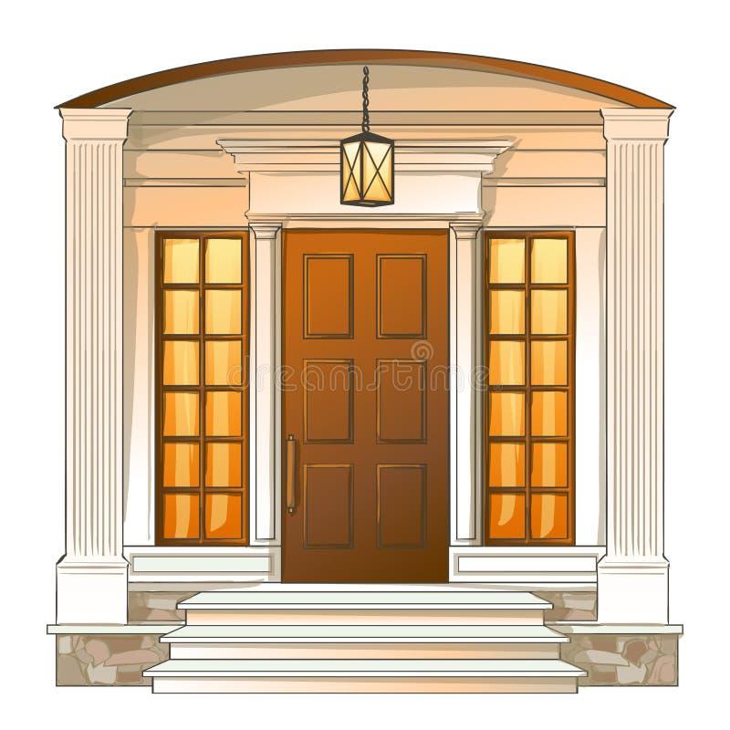从传统豪华房子的传染媒介前门 向量例证