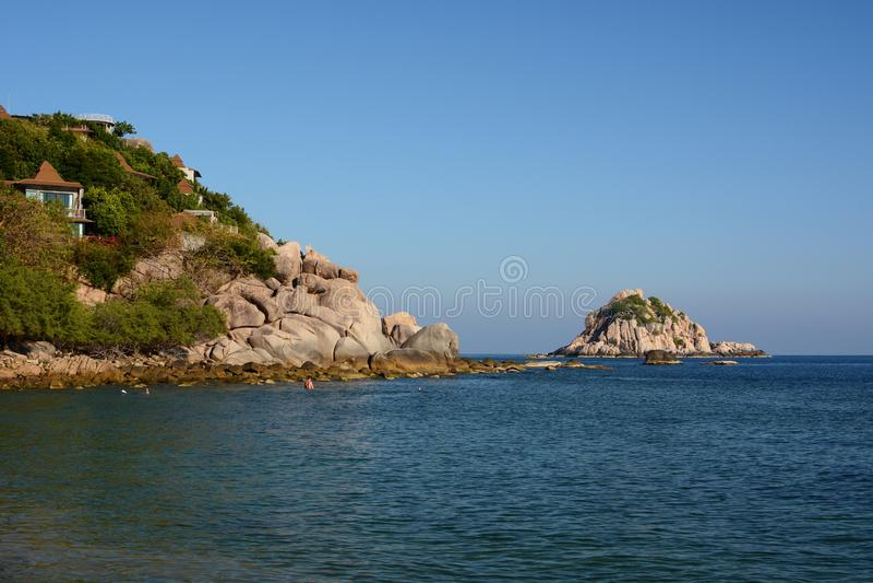 从佐井Daeng海湾的沙克岛视图 酸值陶 Chumphon群岛 泰国 库存照片