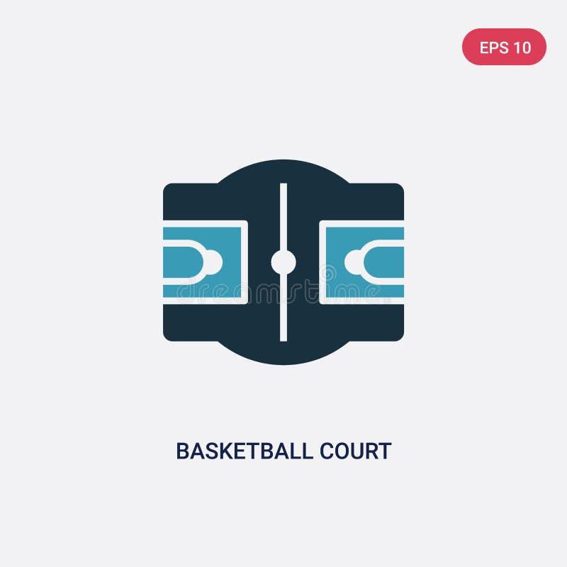 从体育概念的两种颜色的篮球场传染媒介象 被隔绝的蓝色篮球场传染媒介标志标志可以是网的用途, 皇族释放例证