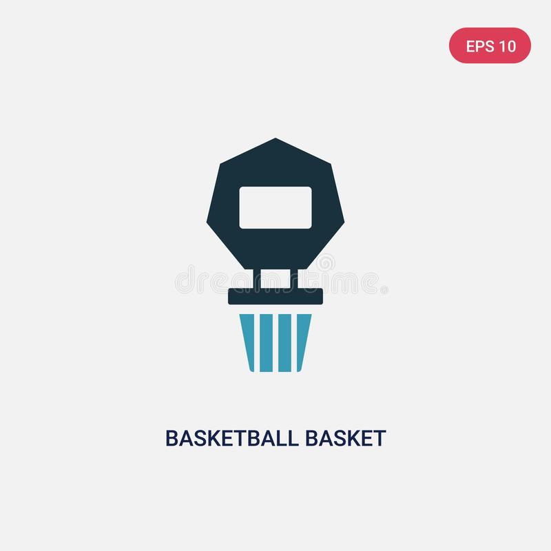 从体育概念的两种颜色的篮球篮子传染媒介象 被隔绝的蓝色篮球篮子传染媒介标志标志可以是网的用途 皇族释放例证
