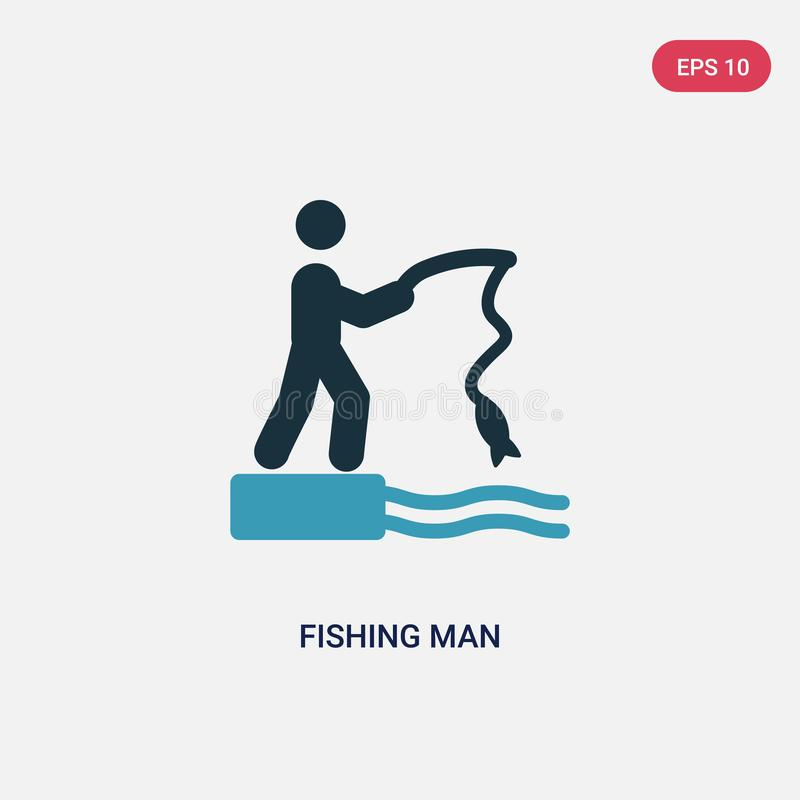 从体育概念的两种颜色的钓鱼的人传染媒介象 被隔绝的蓝色钓鱼的人传染媒介标志标志可以是网的用途,流动和 皇族释放例证