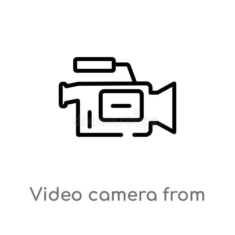 从侧视图传染媒介象的概述摄像头 被隔绝的黑简单的从用户界面概念的线元例证 向量例证