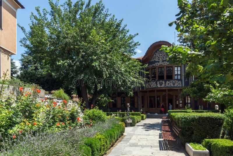 从保加利亚复兴的期间的议院在普罗夫迪夫,保加利亚老镇  库存图片