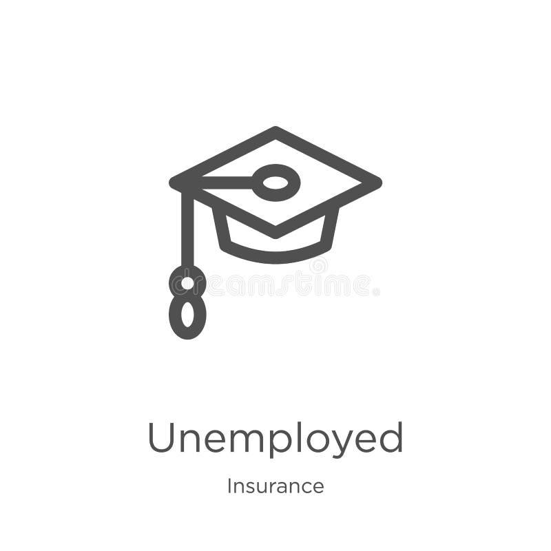 从保险汇集的失业的象传染媒介 稀薄的线失业的概述象传染媒介例证 概述,稀薄的线 向量例证