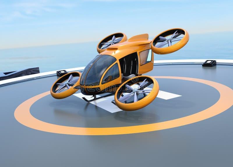 从停机坪的橙色自驾驶的乘客寄生虫起飞 库存例证