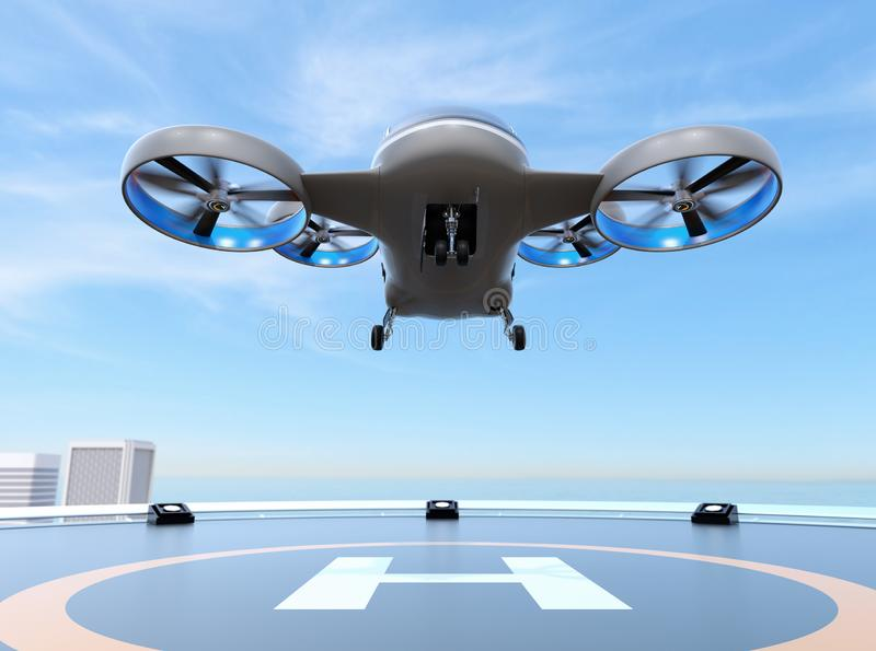 从停机坪的金属灰色乘客寄生虫出租汽车起飞在摩天大楼的屋顶 向量例证