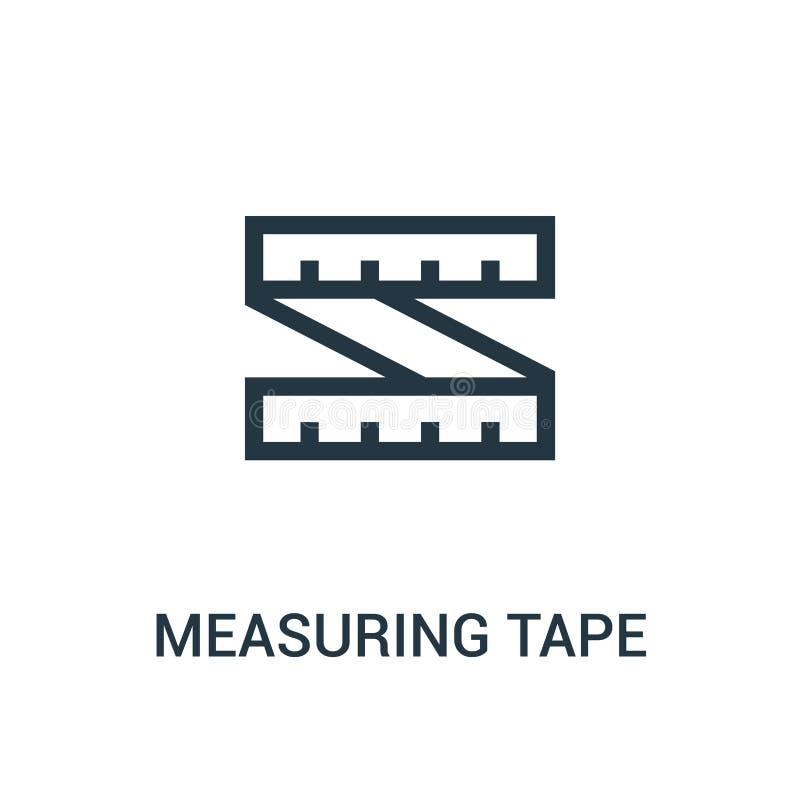 从健身房汇集的测量的磁带象传染媒介 稀薄的线测量的磁带概述象传染媒介例证 库存例证
