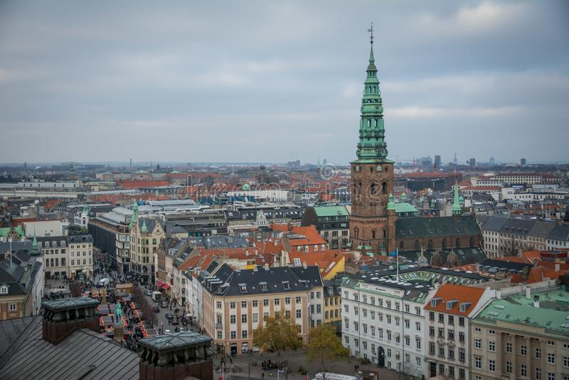 从克里斯蒂安堡塔的看法 哥本哈根 丹麦 免版税库存图片