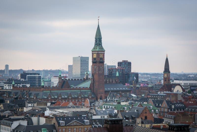 从克里斯蒂安堡塔的看法 这是城市HallÂ的塔 丹麦 库存图片