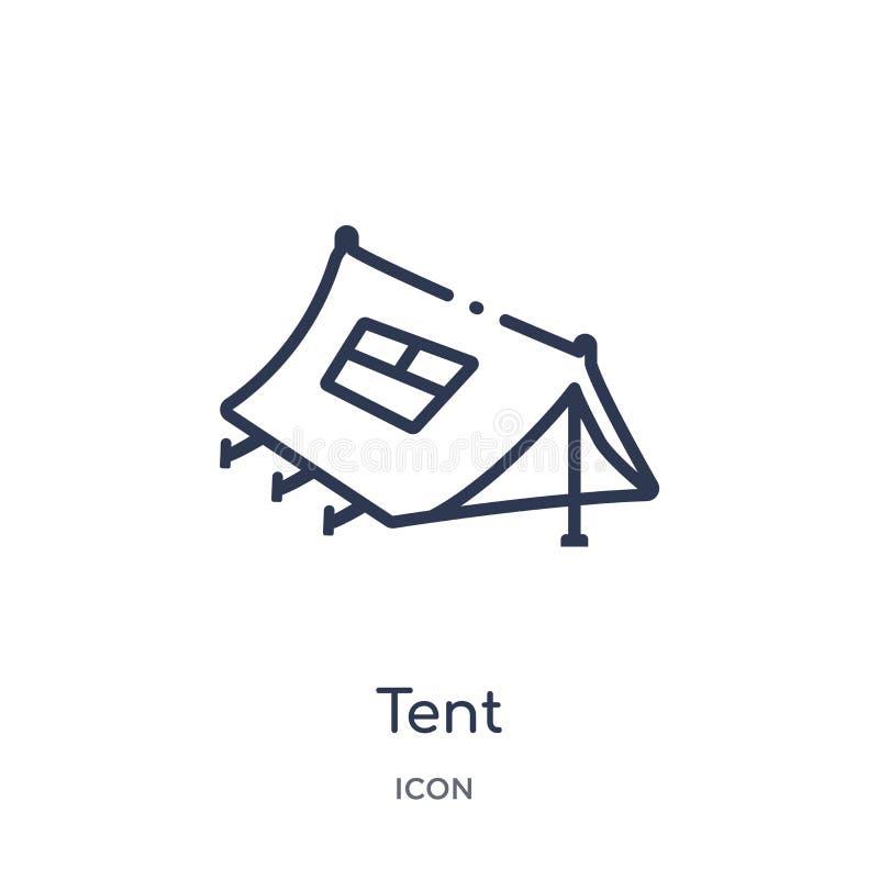 从军队概述汇集的线性帐篷象 稀薄的线在白色背景隔绝的帐篷传染媒介 帐篷时髦例证 向量例证