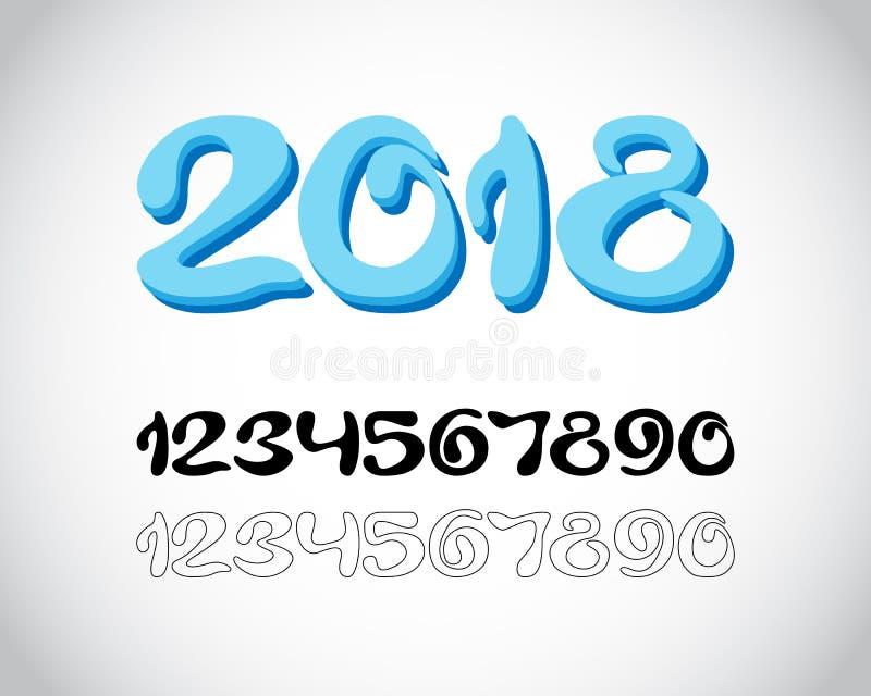 从冰冷的数字的2018个新年 向量例证