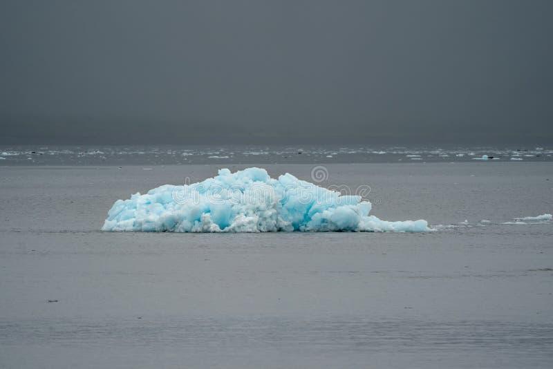 从冰川的一座孤立蓝色冰山在复活海湾坐 库存图片