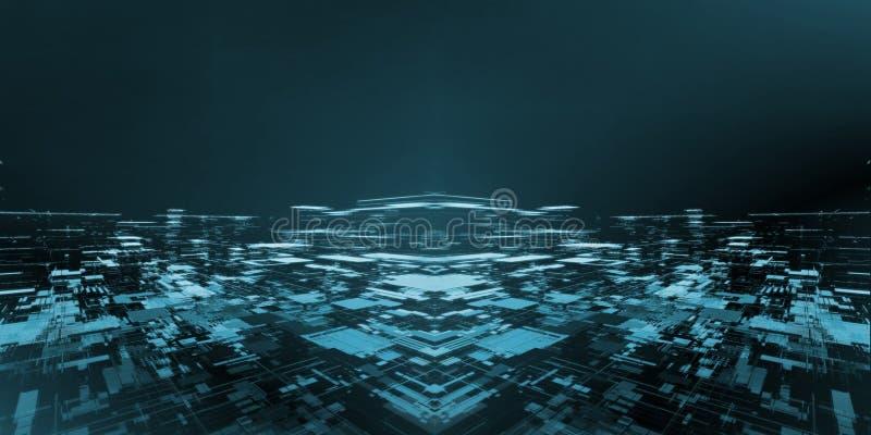 从几何长方形形状和小点线创造的抽象技术城市背景宽银幕  对高科技,大数据 库存照片