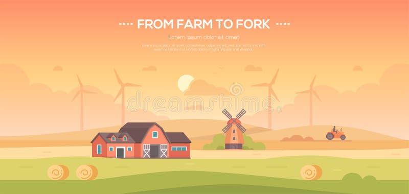 从分叉的农场-现代平的设计样式传染媒介例证 皇族释放例证