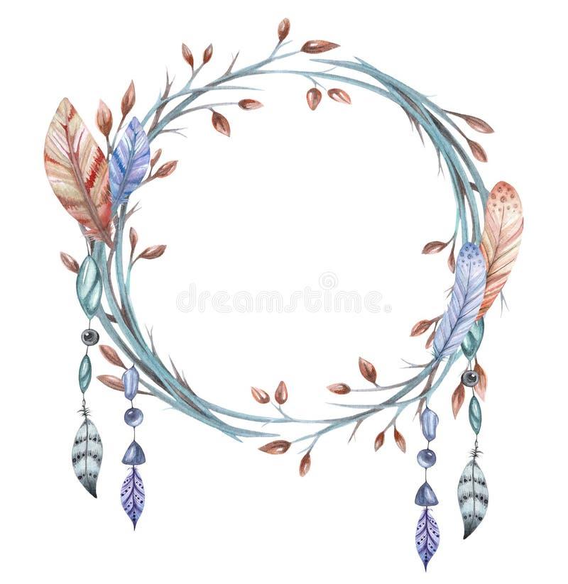 从分支和羽毛的花圈 皇族释放例证
