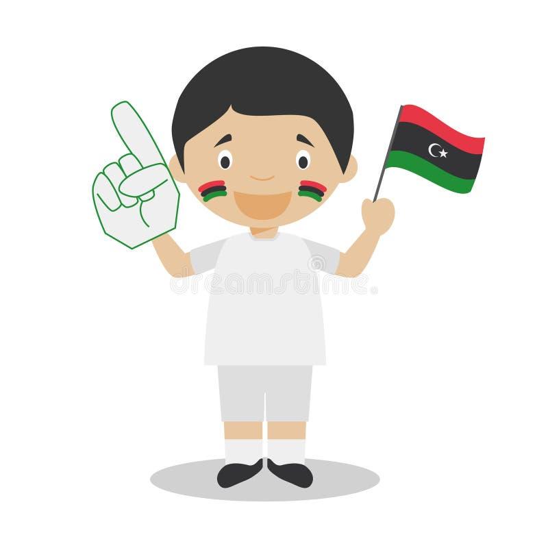 从利比亚的全国体育队爱好者有旗子和手套传染媒介例证的 向量例证