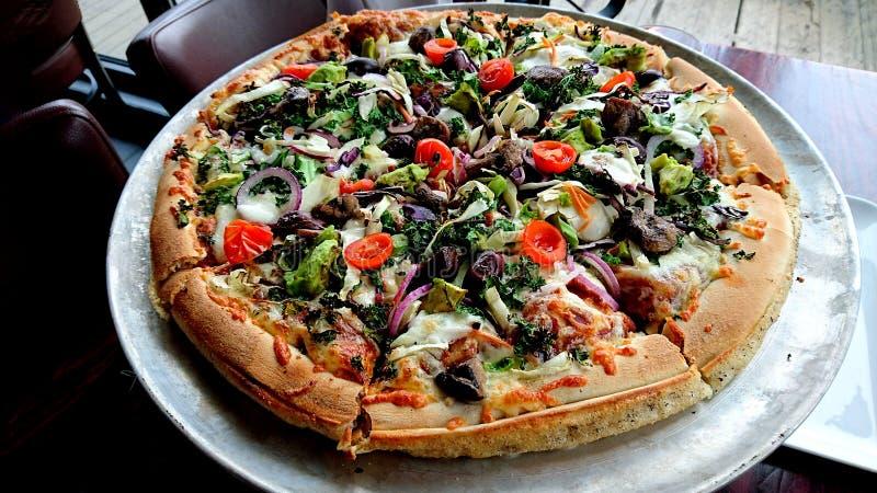 从到达必胜客的素食比萨 免版税库存图片