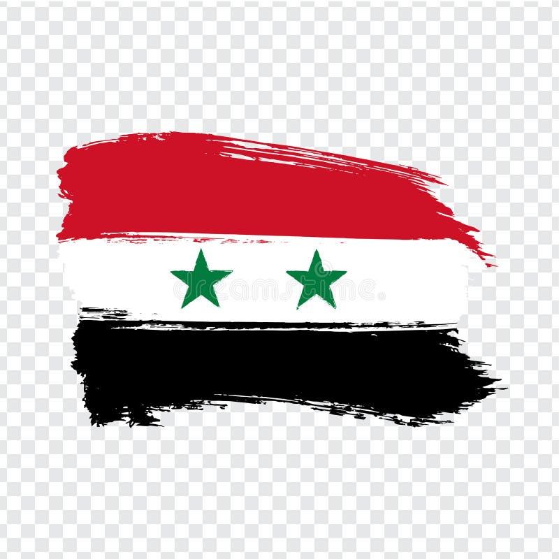 从刷子冲程的旗子叙利亚 阿拉伯叙利亚共和国旗子在透明背景您的网站设计的,商标,应用程序,UI的 向量例证