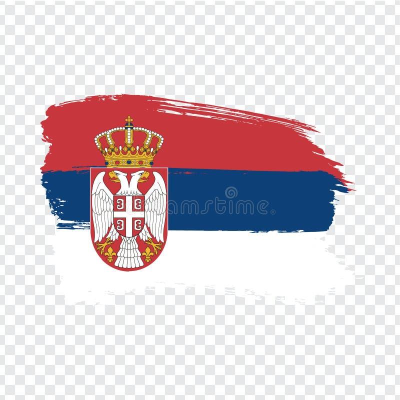 从刷子冲程的旗子塞尔维亚 您的网站设计的旗子Serbiaon透明背景,商标,应用程序,UI 库存例证
