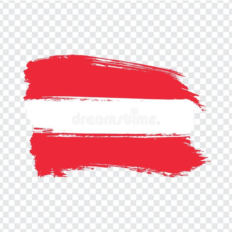 从刷子冲程的旗子奥地利 在透明背景的旗子奥地利共和国 向量例证