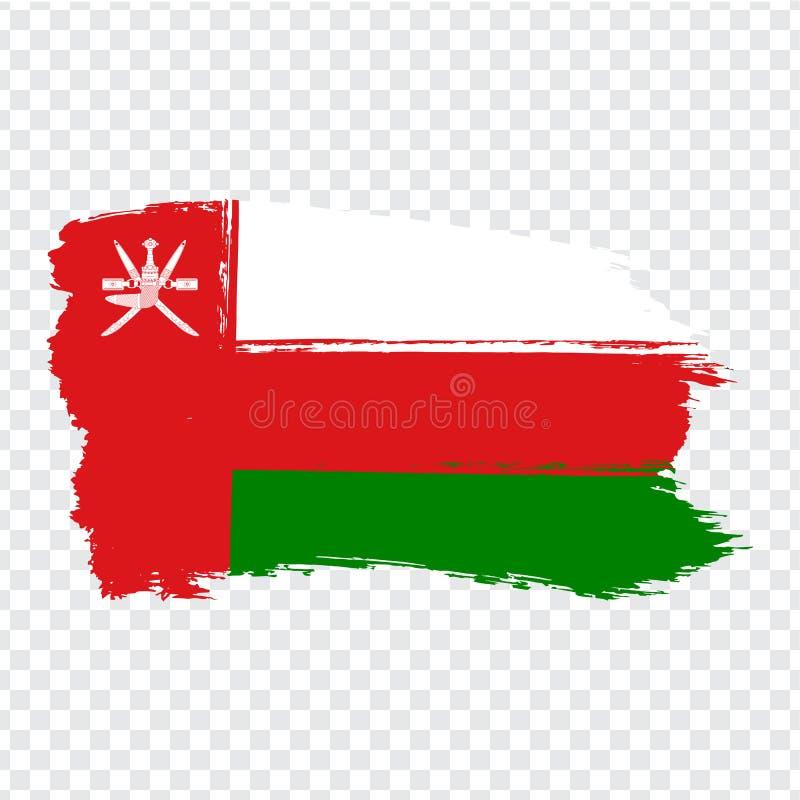 从刷子冲程的旗子阿曼 在透明背景您的网站设计的,商标,应用程序,UI的旗子阿曼 皇族释放例证