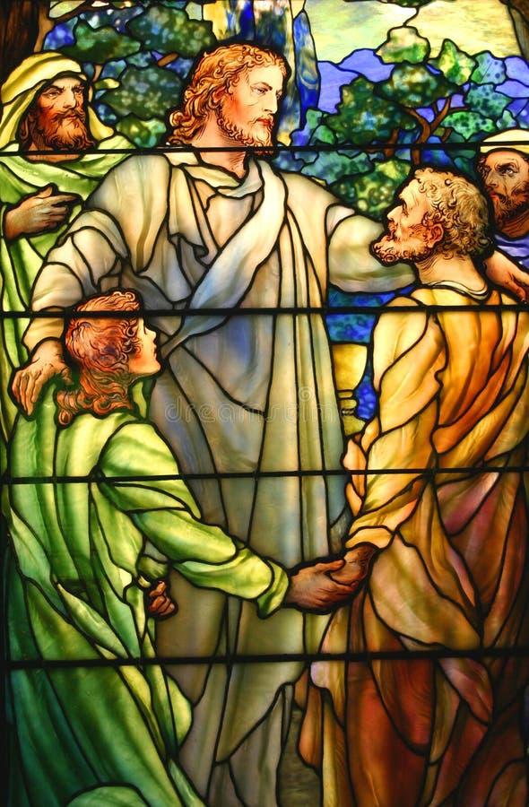 从前史密斯博物馆的彩色玻璃艺术品,芝加哥 免版税库存照片