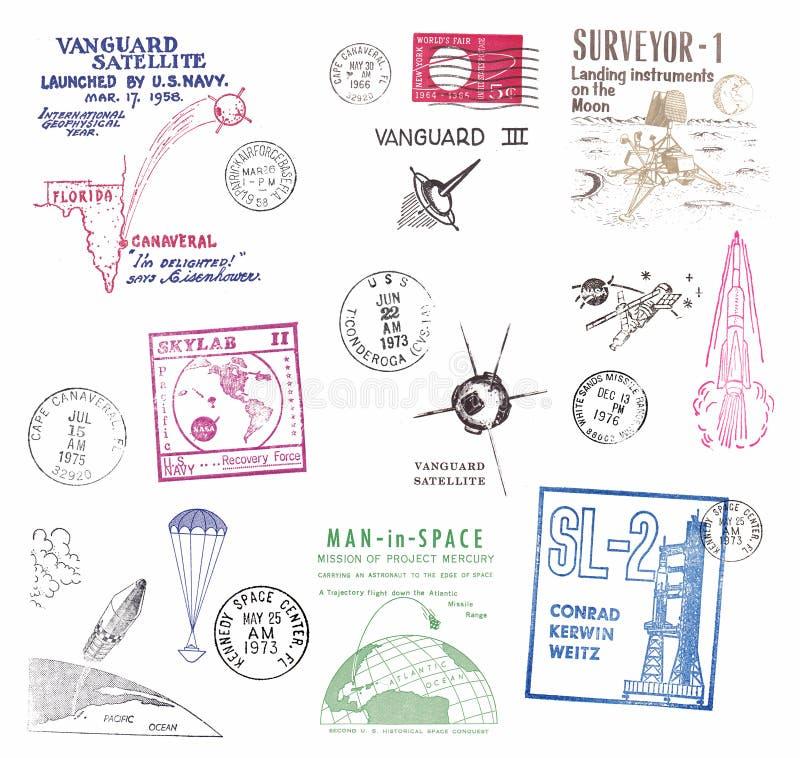 从前苏联的邮票和标签 向量例证