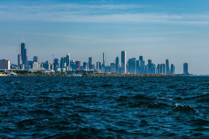 从南侧的芝加哥地平线 免版税库存照片