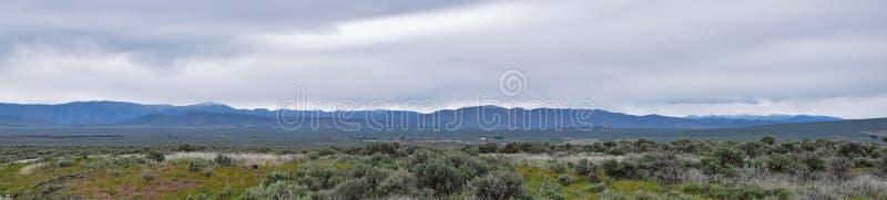 从南部前往太阳谷,农村放牧地带,Sagebrus看法的锯齿山国家森林风景风雨如磐的全景  免版税库存照片