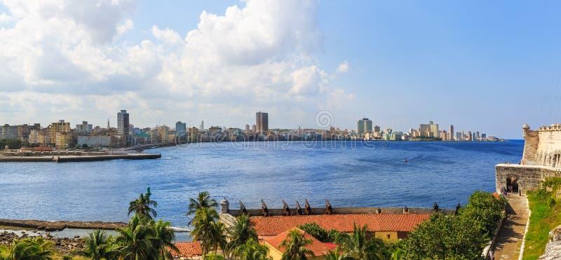 从卡斯蒂略de los Tres雷耶斯del Morro的哈瓦那地平线 免版税库存图片