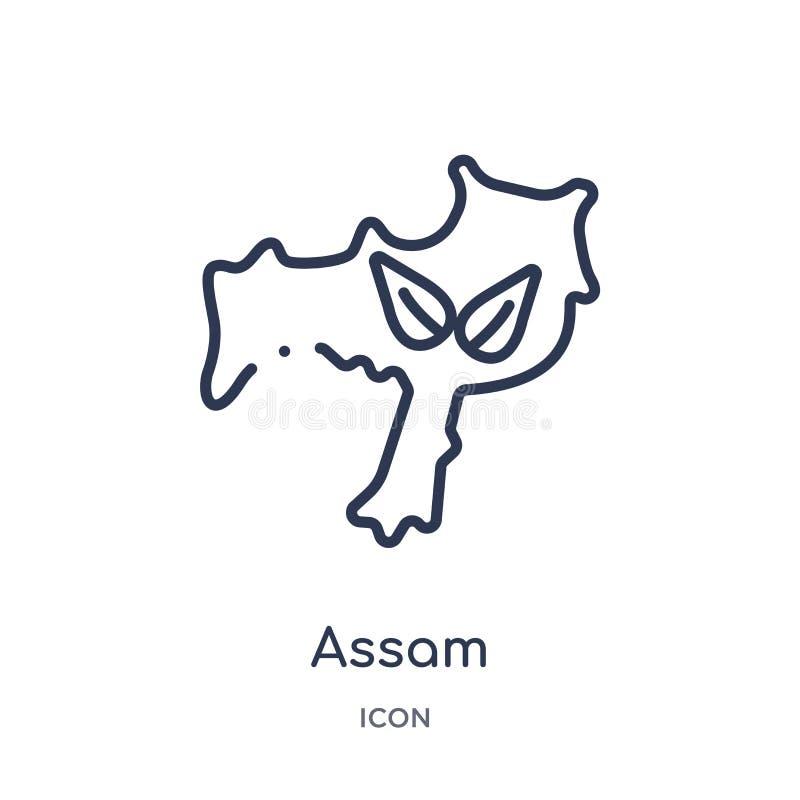 从印度概述汇集的线性阿萨姆邦象 稀薄的线在白色背景隔绝的阿萨姆邦象 阿萨姆邦时髦例证 向量例证