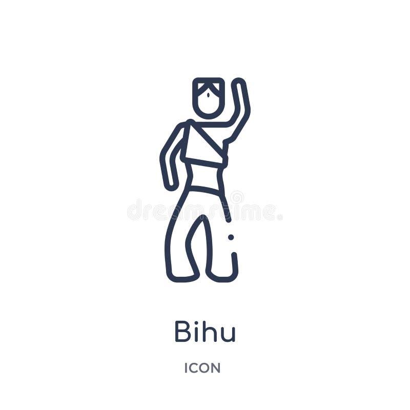 从印度概述汇集的线性bihu象 稀薄的线在白色背景隔绝的bihu象 bihu时髦例证 库存例证