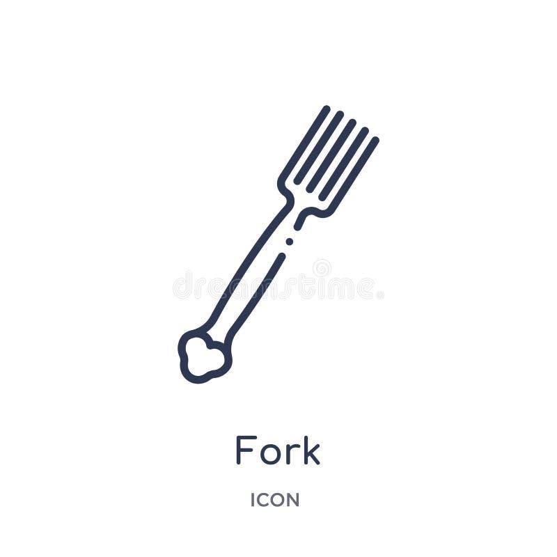 从厨房概述汇集的线性叉子象 稀薄的线在白色背景隔绝的叉子象 叉子时髦例证 库存例证