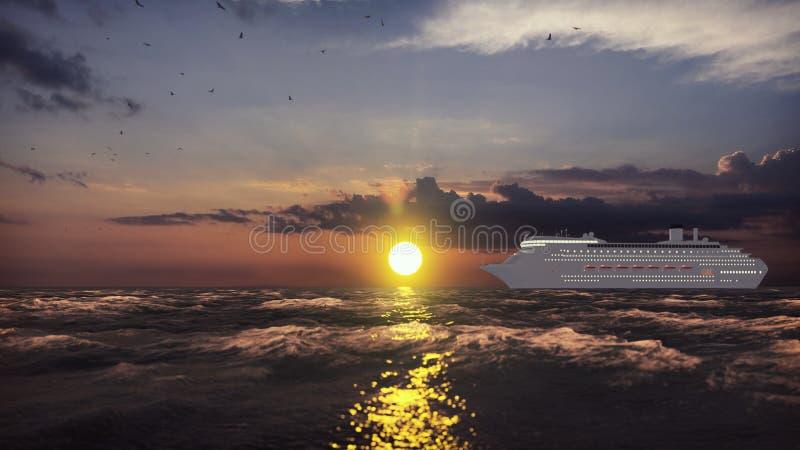从口岸的豪华游轮航行在横跨海洋的日出 r 3d?? 向量例证