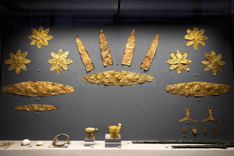 从古希腊迈锡尼的金首饰 库存图片