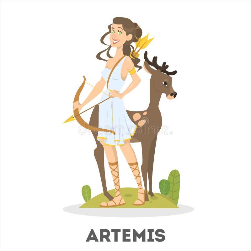 从古老神话的阿特米斯希腊女神 女性角色 皇族释放例证