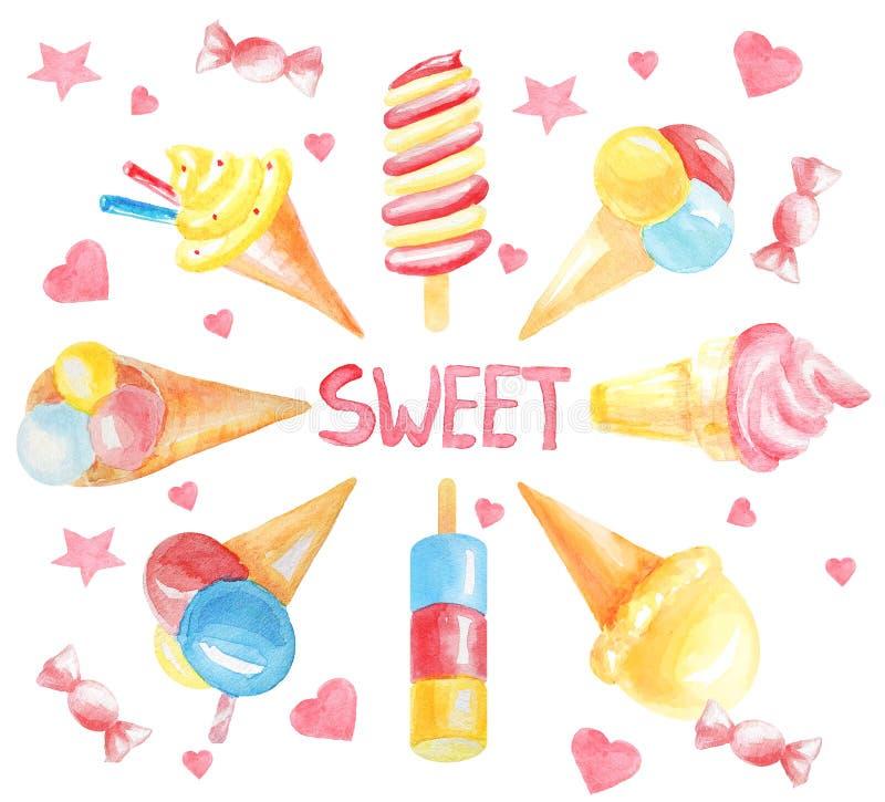 从另外色的冰淇淋,与题字的桃红色糖果的卡片'甜'在框架中间 皇族释放例证
