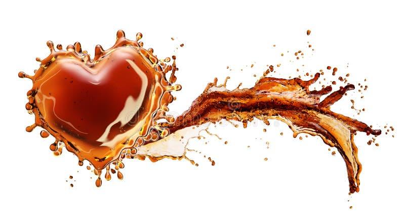 从可乐飞溅的心脏与在白色隔绝的泡影 免版税库存照片