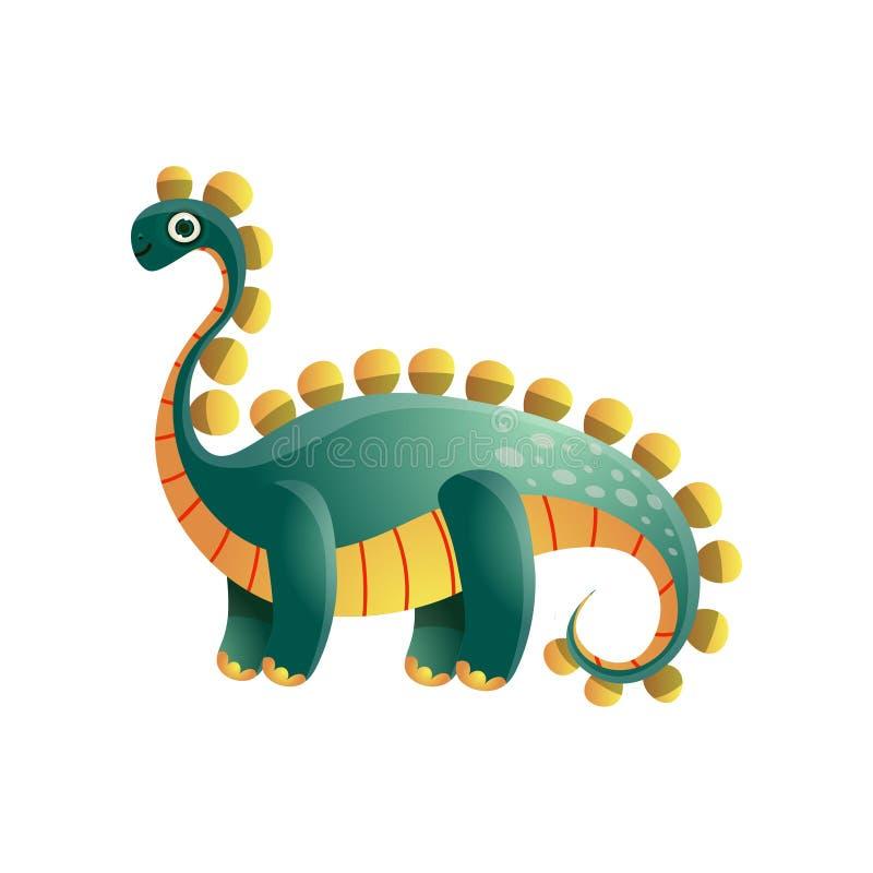 从史前期间的逗人喜爱的绿色五颜六色的剑龙恐龙 向量例证