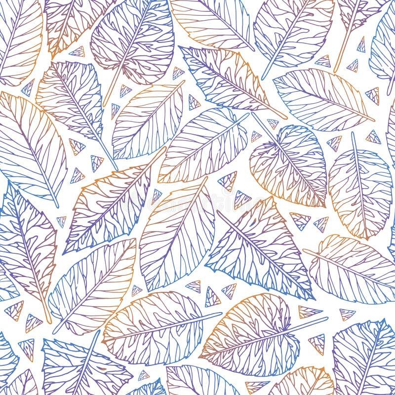 从叶子的植物五颜六色的无缝的样式 库存例证