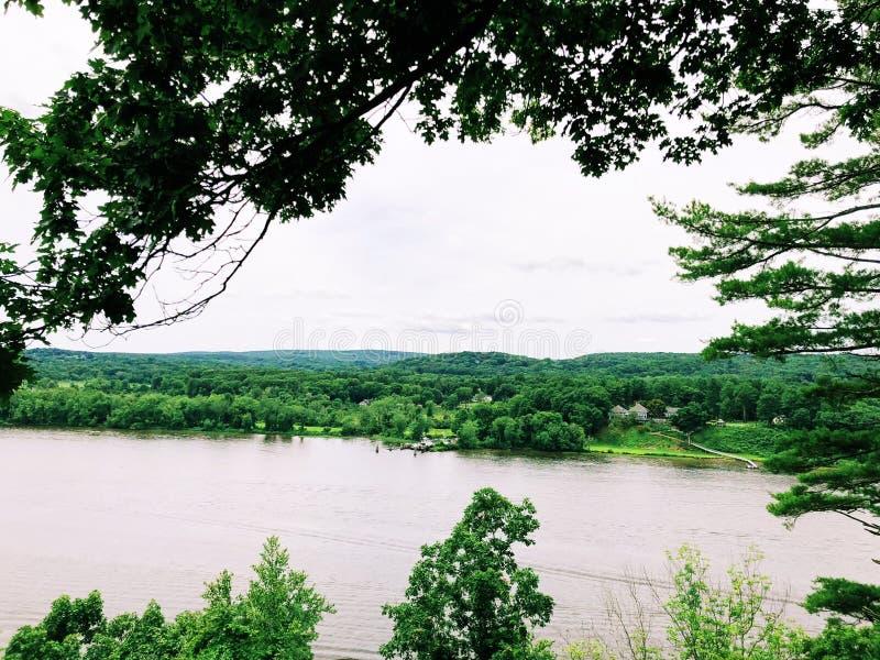 从吉勒特城堡的康涅狄格河视图 库存图片