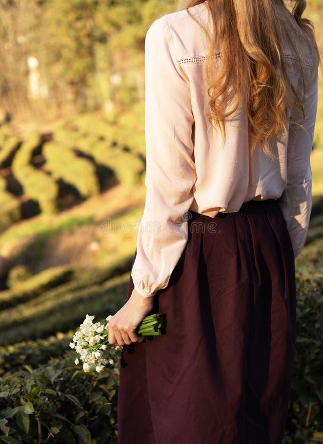 从后面的年轻女人景色有长的红色头发的 库存图片