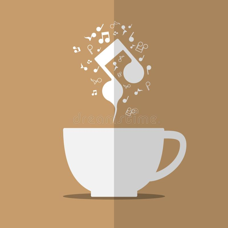 从咖啡杯的抽象音乐笔记蒸汽 皇族释放例证
