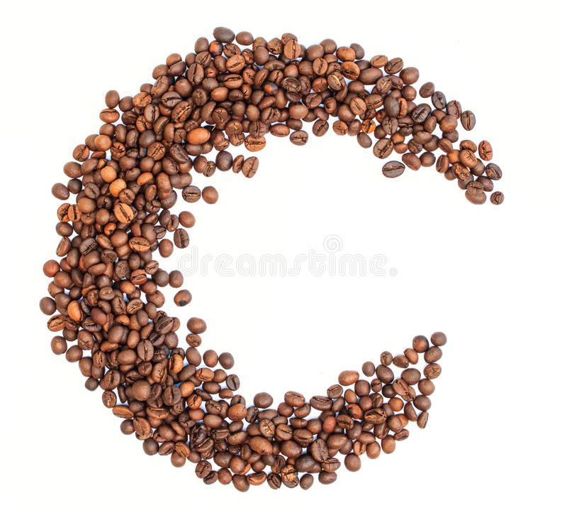 从咖啡豆的月亮 库存图片