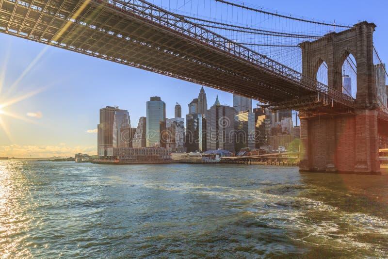 从哈得逊河的曼哈顿下城和布鲁克林大桥在纽约,纽约 免版税库存图片