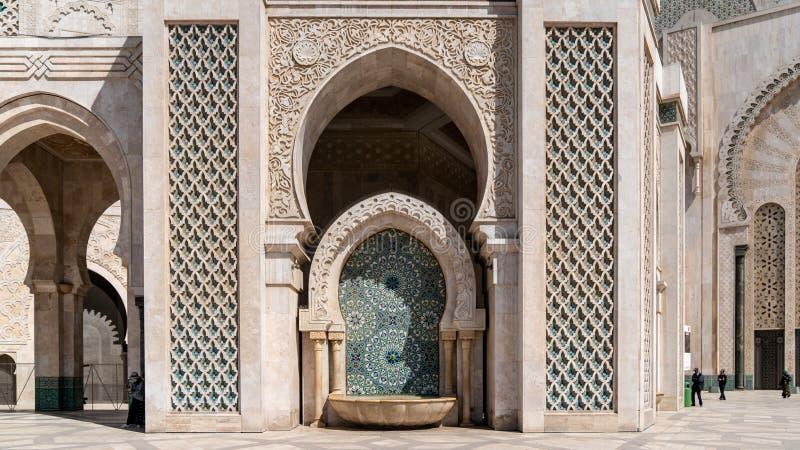 从哈桑二世清真寺的建筑细节在卡萨布兰卡,摩洛哥 库存照片