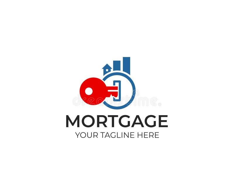 从图表商标模板的关键和房地产 抵押和图从大厦传染媒介设计 库存例证