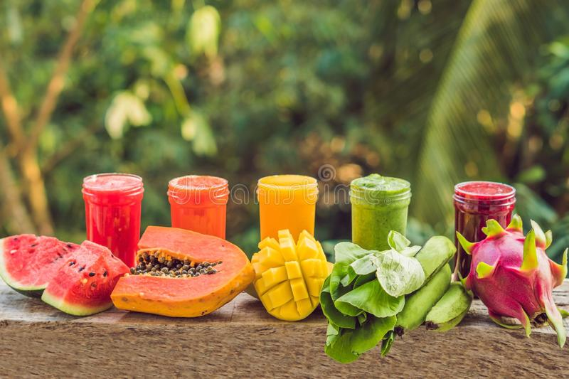 从圆滑的人的彩虹 西瓜、番木瓜、芒果、菠菜和龙结果实 圆滑的人,汁液,饮料,喝 免版税库存图片