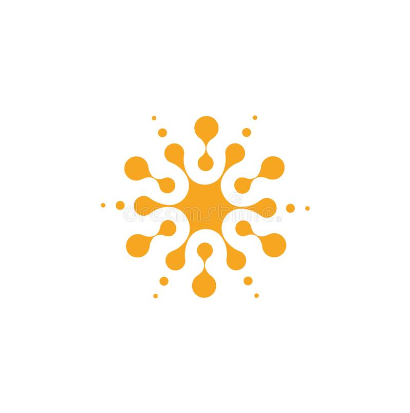 从圈子的橙色抽象圆形,普遍商标模板 被隔绝的象,在白色的传染媒介例证 库存例证