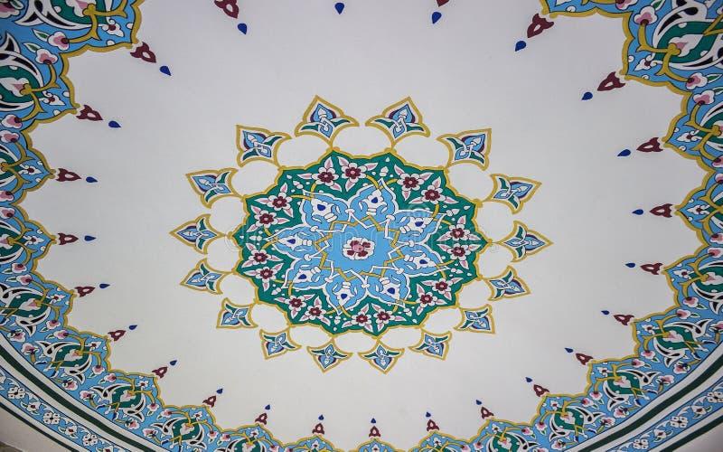 从土耳其清真寺的伊斯兰教的天花板艺术样式 免版税库存图片